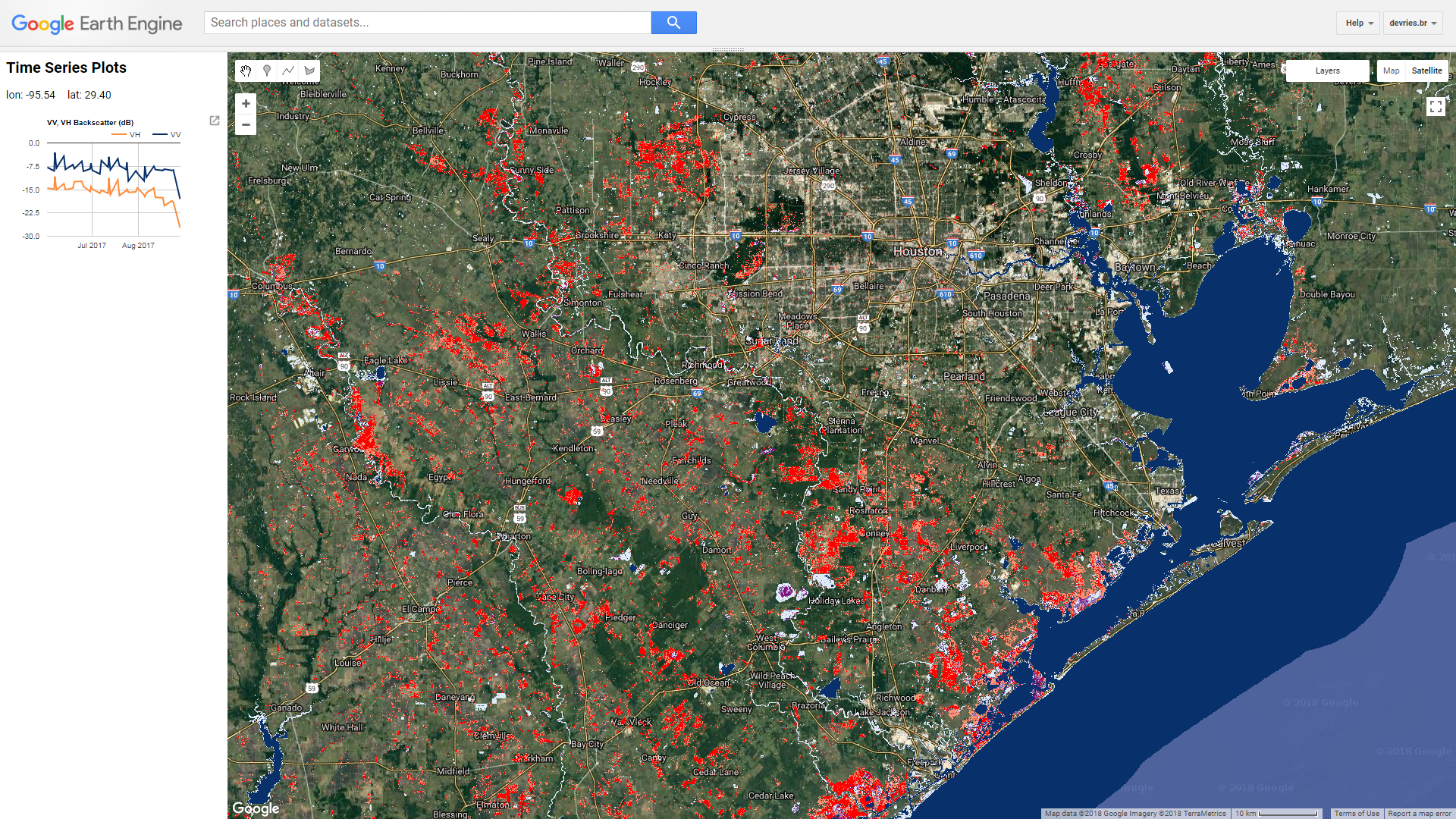 screenshot of a Google Earth Engine flood monitoring app